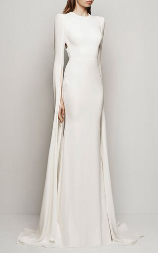 Courtney Satin Crepe Long Sleeve Split Gown by ALEX PERRY Now Available on Moda Operandi