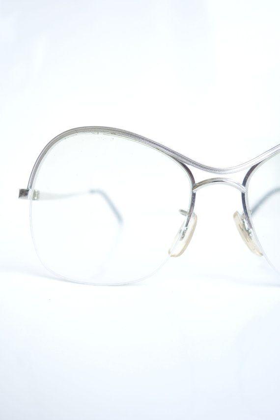 51cbcf8f389d9 Vintage 1980s Tura Glasses – 80s Oversized Silver Aviator Glasses – Womens  Designer Silver Aviator Optical Frames in 2019