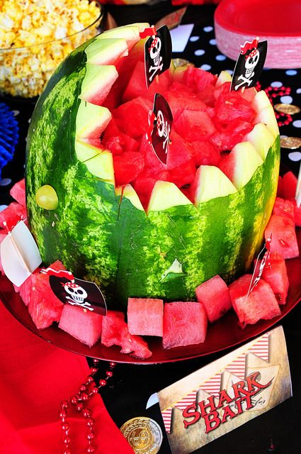 Watermelon shark from a Pirate Party #pirate #partyfood