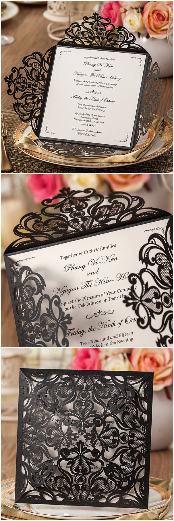elegant black laser cut pocket wedding invitations