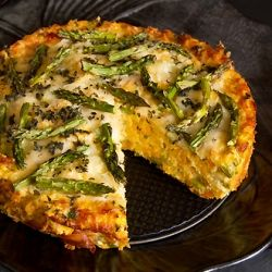 Butternut Squash and Roast Asparagus Crespelle Torta for a vegetarian Thanksgiving main course option.