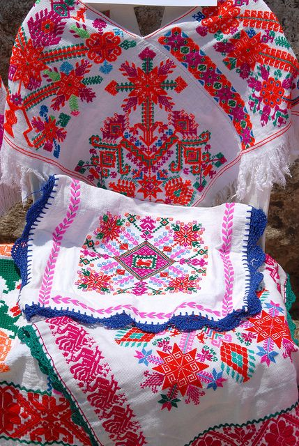 """Embroidery from """"La Huasteca"""", region at the north of the state of Hidalgo, México. I lived in Pachuca, the capital, six years. There are many traditions and ancient culture there."""