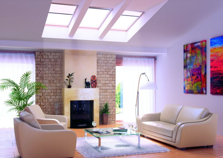 Grid Skylights In Contemporary Living Room Pictures, Coffee Table