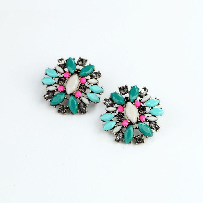 Charming Artificial Stud Earrings With Multicolor
