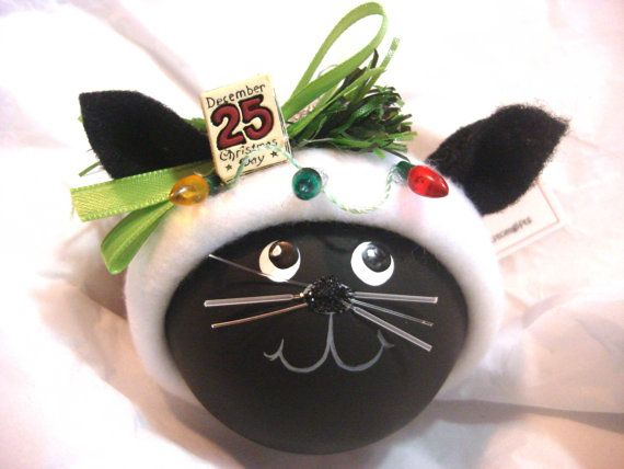 Black Cat Kitty Christmas Ornaments Sign Christmas Lights Personalized Name Tag Option Hand Painted Handmade Themed Townsend Custom Gifts