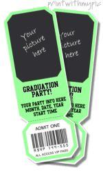 Ticket invitation templates, printable ticket invitations with your picture, invitation tickets for kids, free, online -- saved my butt when I needed invites ASAP. Don't worry about the missing save button, just click print and the option to save as PDF will show.