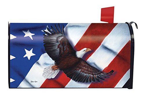 "Patriotic Eagle Magnetic Mailbox Cover 4th of July Holiday Briarwood Lane:   Patriotic Eagle mailbox cover depicts a bald eagle passing in front an American flag waving in the breeze. This American flag design is a lovely way to sport you patriotism at any time of year. Made to fit standard size steel mailboxes measuring 6.5"" x 19"". Printed on durable vinyl material with magnetic strips to easily attach to your mailbox."