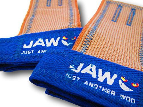 JAW Pull-Up Hand Grips (Royal Blue, Medium)  Lightweight, affordable, hand protection for Weightlifters, CrossFitters, Gymnasts, and any fitness enthusiast who uses a pull-up rig or barbell.  Work great with pull-ups, muscle ups, cleans, snatches, deadlifts, toes-to-bars, knees-to-elbows, kettlebells, and dumbells.  Prevent your palm skin from tearing and protect your current rips and blisters.  The stretch fabric is extremely comfortable to wear and the velcro wrist strap ensures your...