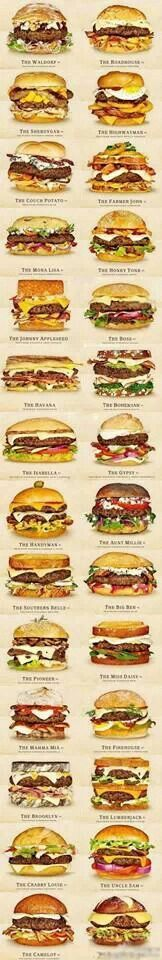 30 DIFFERENT CHEESEBURGERS