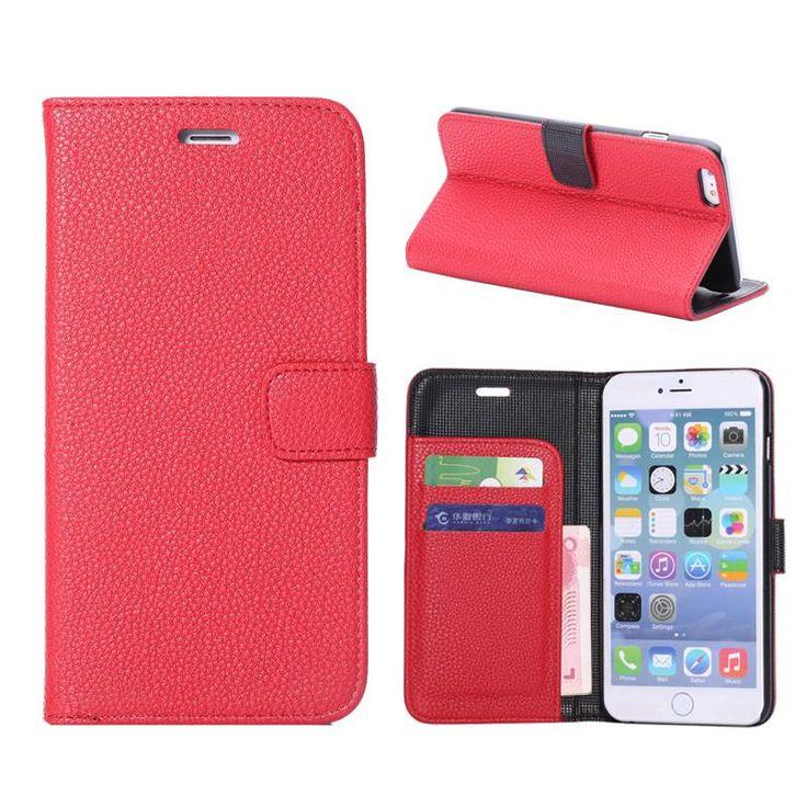 Rood lychee bookcase hoesje voor iPhone 6 Plus