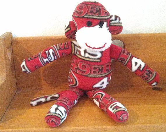 San Francisco 49ers monkey plush toy Handmade Stuffed Animal Doll Baby