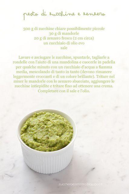 Pesto di zucchine e zenzero