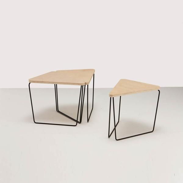 Fractal Coffee & Side Table   Timber Plywood Top   Powder Coat Metal Legs   Triangle Modular Furniture