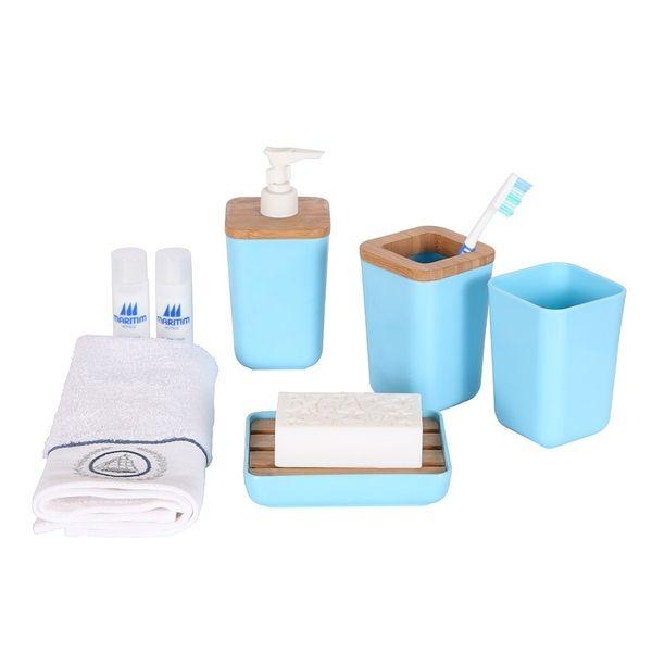 Bosphorus mavi 4 lu banyo seti bambu melamin hk50246aapb 60 tl