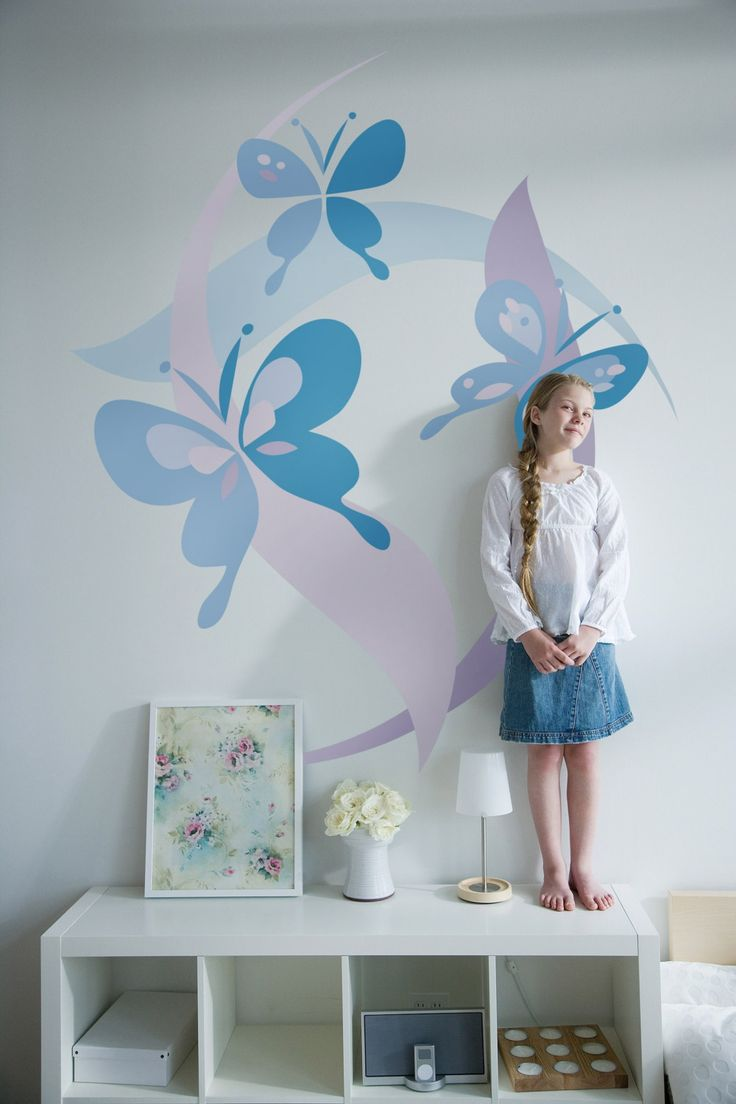Diy paint by number mural butterfly mural butterfly for Girls murals