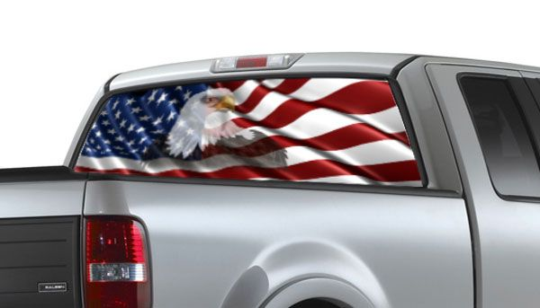 American Flag Window Decals See Thru Graphics Decals For