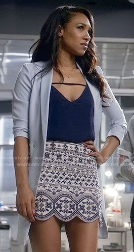 Iris's bead embellished skirt and blue blazer on The Flash.  Outfit Details: https://wornontv.net/61282/ #TheFlash