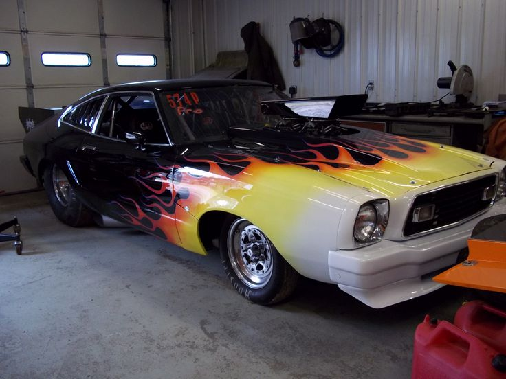 Our '76 Ford Mustang Cobra II all snug in our shop ...