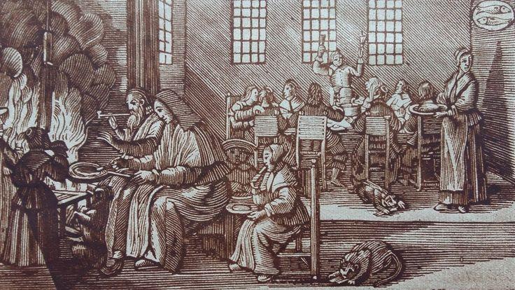 """Het bakken van """"boekende flensjes"""" op St. Nicolaasavond. Naar een prent uit """"Het zedelijk leven onzer voorvaderen in de 18e eeuw"""" van Dr. L. Knappert.Bron: Groot Rotterdam (1926)"""