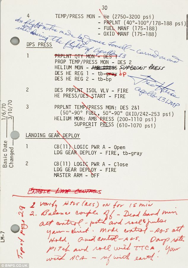 Handwritten notes from Apollo 13 commander Jim Lovell on how to make the crippled spacecraft perform a vital burn on the way back to Earth. (1970)
