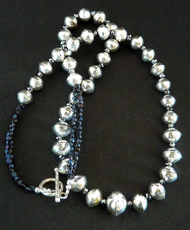 Graduated Sterling Silver Bead Necklace with Vintage Nailheads, Onyx Glass & Sterling Toggle