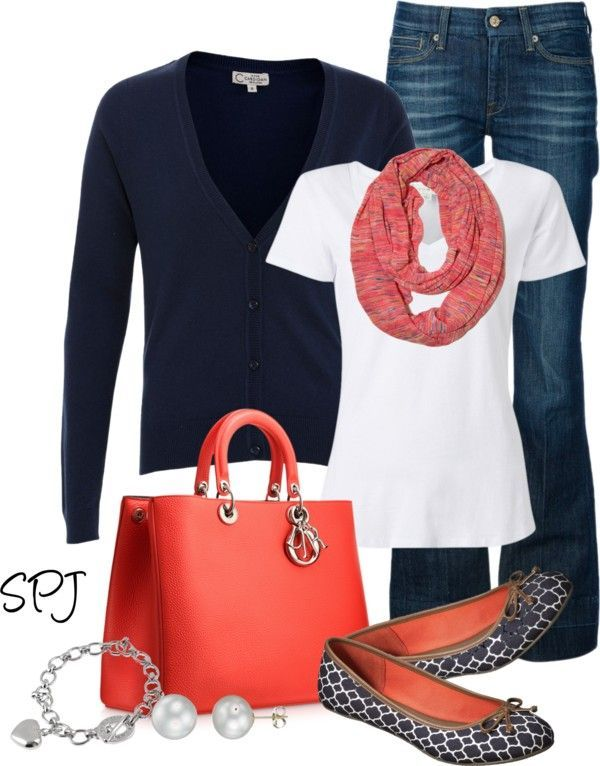 Add a pop of color to your outfit with a nice bag or shoes.