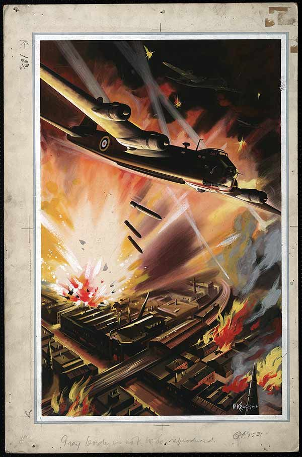 """A British Sterling bomber attacks a German industrial target. """"British Stirling heavy bombers"""" by W. Krogman, 1941"""