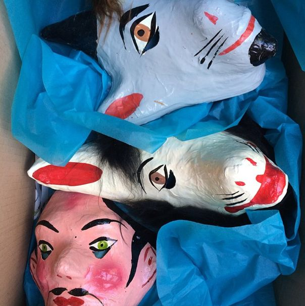 Hand-crafted papier maché masks from Mexico. http://lasninastextiles.com/product-category/party-3/