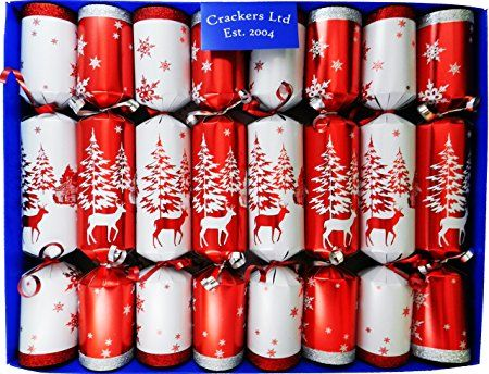 Red and White with Glitter Woodland Reindeer Family Christmas Crackers - hand filled in UK with quality gifts for all the family