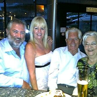 P, me Dad and Mom at Rivets Hilton Hotel! Look at the size of the pub burgers. Worth a visit for sure!