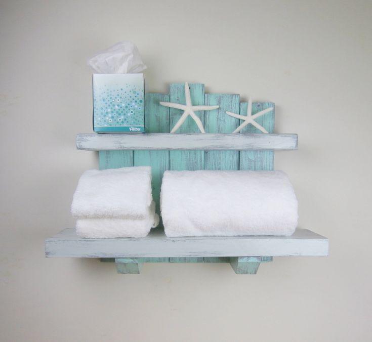 Handmade Wood Wall Shelves – Beach Decor Above Toilet Shelves – Large Rustic…   – ocean