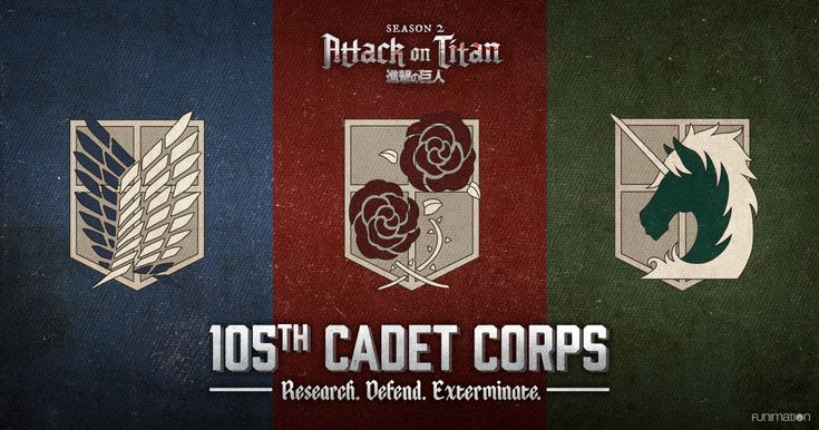 Currently recruiting for the 105th Cadet Corps! Research. Defend. Exterminate. Which Attack on Titan military division are you destined for? Take our quiz now to find out. funimation.com/cadetcorps