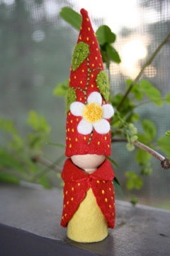 Strawberry fruit blossom felt gnome Waldorf inspired flower fairy elf sprite nature table play doll. $28.00, via Etsy.