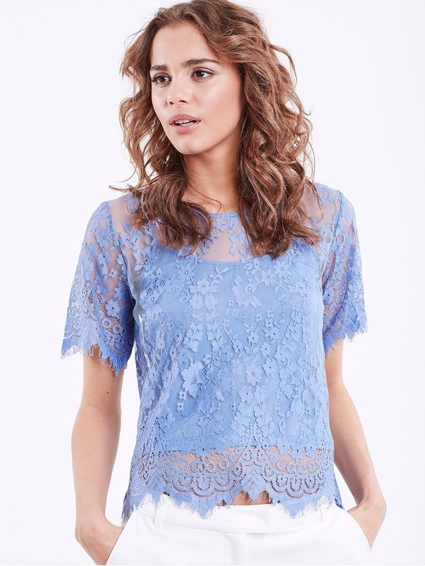 Lace Top #lace #top #blue #summer #bikbok