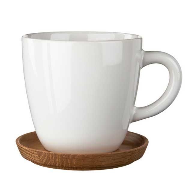 Höganäs coffeecup with wood plate, 33 cl. colour: shiny white