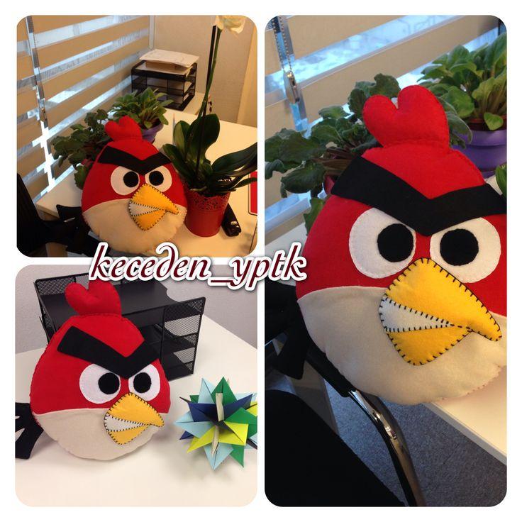 Angry bird yastık, polar ve keçe karışımı :)