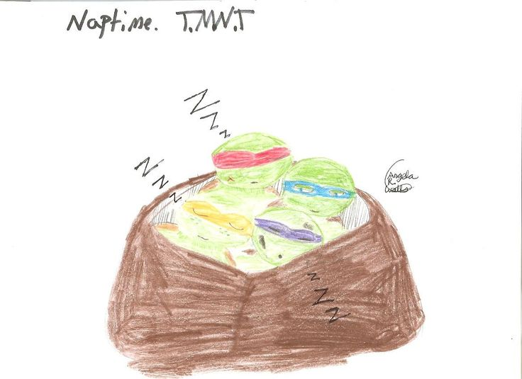Naptime by Angela R. Watts (TMNT FANART) I liked doing this because you can see Raph hurt himself in a play thing (his cheek), and Donnie was playin' 'round, because he has soot on his face, and Mikey is dreaming about his brothers, and Leo isn't asleep and is looking at them.
