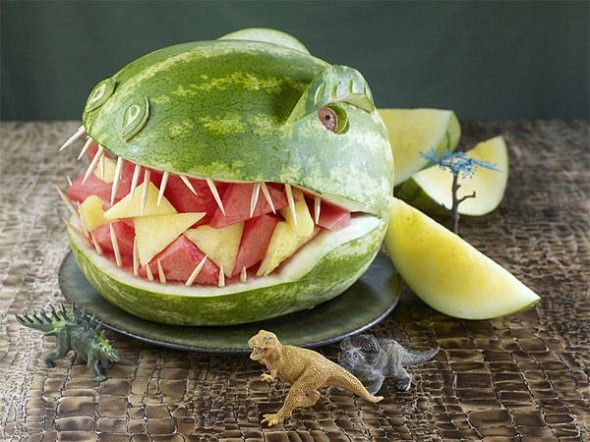 dinosaur fruit salad: T Rex, Food, Dinosaur Party, Dinosaurs, Kids, Watermelon, Partyideas, Party Ideas, Birthday Party
