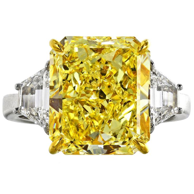 7.01 Carat Fancy Yellow GIA and White Diamond Ring | From a unique collection of vintage engagement rings at https://www.1stdibs.com/jewelry/rings/engagement-rings/