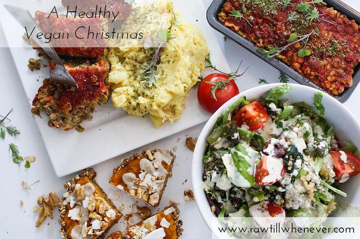 Healthy Vegan Christmas All recipes for: lentil loaf, mashed potatoes, Caesar salad and mini pumpkin pies.