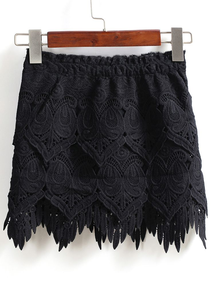 Black Elastic Waist Lace Skirt 19.33