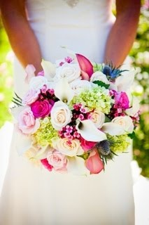 Callas, hydrangea, roses and bouvardia bouquet.  Coren Moore Real Weddings:  Photo by hendricksonphotographyweddings.com