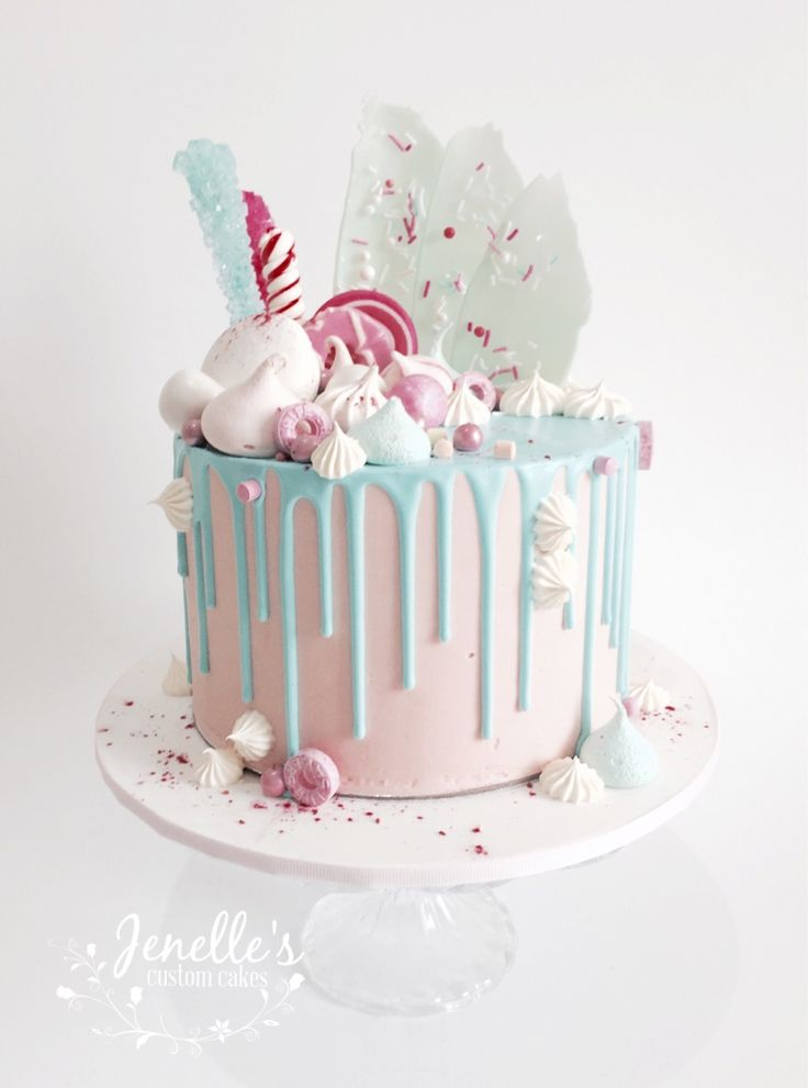 Pink and aqua drip cake. By Jenelle's Custom Cakes.