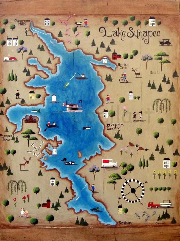 a birds eye view map of lake sunapee tim campbell