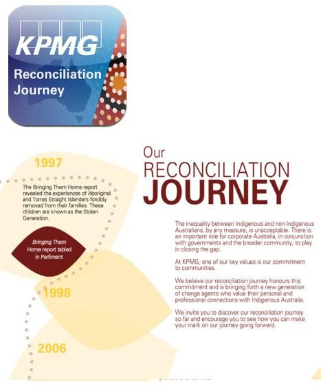 Great to See such awesome APP sharing - let's see more RAPs as a result ... RECONCILIATION ACTION PLAN - KPMG RAP APP - The inequality between Indigenous and non‑Indigenous Australians, by any measure, is unacceptable. There is an important role for corporate Australia, in conjunction with governments and the broader community, to play in closing the gap. #RAP #KPMG #Reconciliation #ActionPlan #Indigenous #Aboriginal #TorresStrait