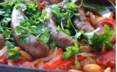 Baked sausages and butterbeans recipe