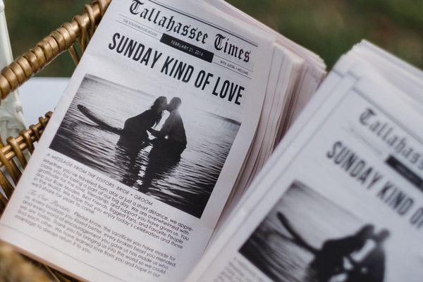 "Brunch wedding ceremony idea - ceremony programs printed newspaper-style with the headline: ""Sunday Kind of Love.""  {Artsinfotos photography}"