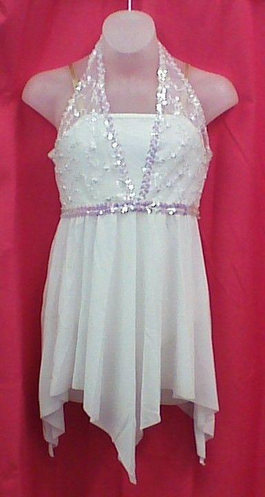 Dance Costume White Halter Dress Lyrical
