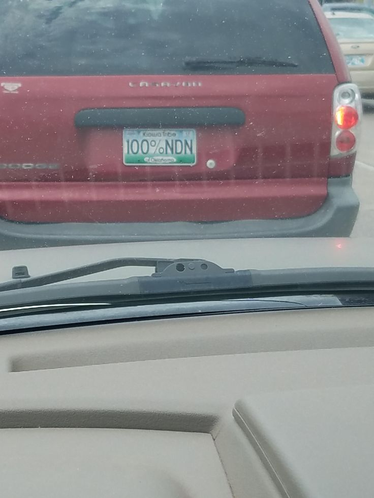 Percent sign on a license plate.
