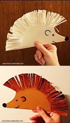 PAPER PLATE to HEDGEHOG use with Jan Brett Troll stories great fine motor - scissor practice